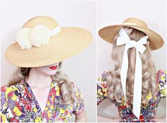 a9f0d3796dd03 1940s Vintage Hat   Wide Brim Hat   40s Straw Hat   Cream ribbons   Pom Poms    PRETTY
