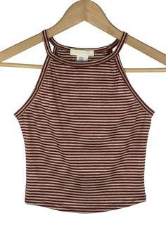 sussie striped crop top (burgundy and beige)
