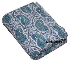 Blue Paisley Tropical Kantha Quilt in Queen Size Bohemian Kantha Blnket Indian Handmade Kantha Beddi Cotton Blankets, Cotton Quilts, Kantha Stitch, Quilted Bedspreads, Kantha Quilt, Quilt Bedding, Art Deco Fashion, Bed Spreads, Baby Quilts