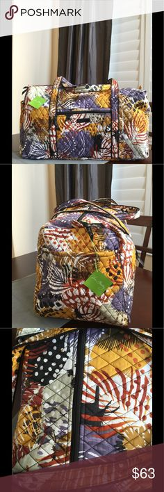 "NWT VERA BRADLEY LARGE DUFFEL Brand new with tags Vera Bradley large duffel  Painted feathers pattern  15"" strap drop Handy outside end pocket Folds flat for easy storing Dimensions 22"" W x 11½"" H x 11½"" D - 15"" strap drop Duffle Smoke/pet free home Vera Bradley Bags Travel Bags"