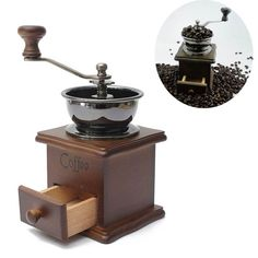 Retro Wooden Manual Coffee Bean Grinder Hand Family Mini Flour Mill *** Click image for more details.