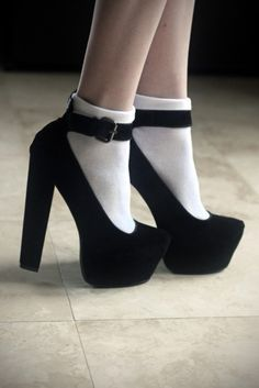 Black suede heels with ankle straps Sock Shoes, Cute Shoes, Me Too Shoes, Shoe Boots, Socks And Heels, Shoes Heels, Ankle Socks, Suede Heels, Lace Socks