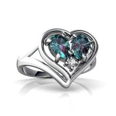 14K White Gold Pear Created Blue Alexandrite Heart Shaped Ring: Women's Fashion Jewelry