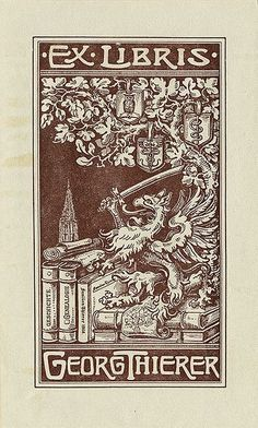 Ex Libris of Georg Thierer ~ Pratt Institute Library ~ depicts a beast with a sword standing on top of a stack of books under a tree with various shields. Ex Libris, Best Book Covers, Vintage Type, Wood Engraving, Book Illustration, Book Worms, Illustrators, Book Art, Poster