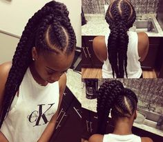 61 Totally Chic And Colorful Box Braids Hairstyles To Wear! Pigtail Hairstyles, Braided Ponytail Hairstyles, African Braids Hairstyles, Asian Hairstyles, American Hairstyles, Updo Hairstyle, Prom Hairstyles, Hairdos, Tribal Style