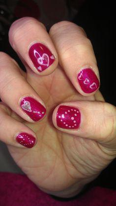 Gellux - Nail Art - Raspberry Sorbet plus hand painted hearts