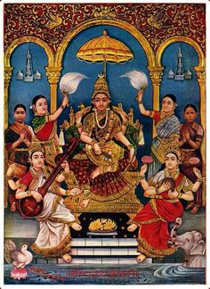 Maa Shakti Mother Tridevi Saraswati (Goddess of Knowledge) Lakshmi (Goddess of Wealth) Parvati (Goddess of Power) Mysore Painting, Kerala Mural Painting, Tanjore Painting, Indian Art Paintings, Shiva Parvati Images, Krishna Hindu, Hindu Deities, Hinduism, Hare Krishna