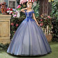 2015 New Free Shipping Floor Length Scoop Neck Cap Sleeve Customized Plus Size Dark Blue Wedding Dress