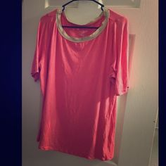 Classy pink with gold collard trim blouse 18/20 Beautiful and gently used lane Bryant pink top with gold neck trim ! Gives off such a great classy look i got many compliments when I wore this !  Lane Bryant Tops Blouses
