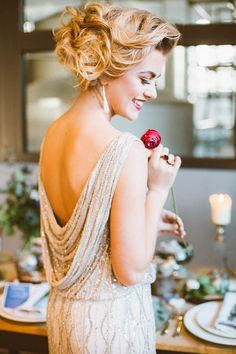 Sparkly cowl back wedding dress and voluminous updo | Sue-Slique Photography