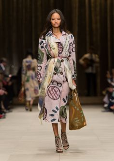 Lavender grey hand-painted trench coat with a floral landscape cashmere scarf and The Bloomsbury bag