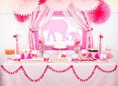 Girls Pink Elephant Party / Babyshower