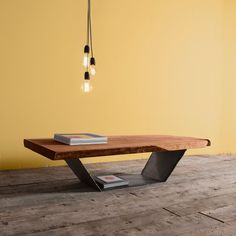 Coffe table in elm wood and iron rustic by IndustrieDelamont