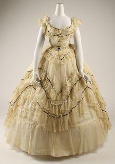 Robe 1869, américain, fait de la soie