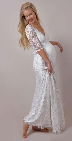 white wedding dress and pregnant