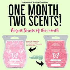 Scentsy August 2017. Two scents of the month. Berry of Paradise. Citrus Garden. www.scentsational99.scentsy.us