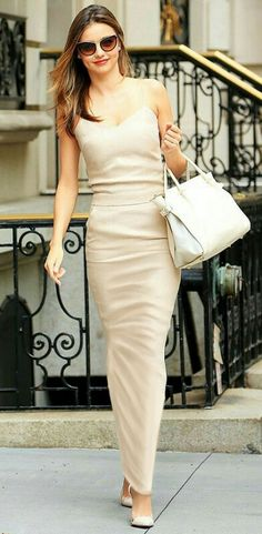Long cream tube skirt