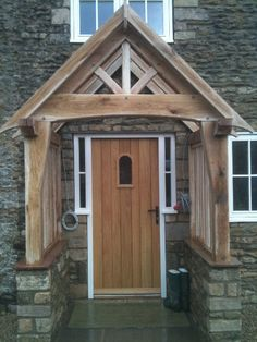 A simple yet attractive way of enhancing your home is a bespoke Oak porch, a stunning feature which also offers you a practical addition to your home Porch Oak, Porch Doors, Front Porch Design, Front Porches, Wood Canopy, Cottage Porch, Timber Buildings, Cool Doors, House Windows