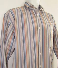 Men Johnston & Murphy Striped Casual Shirt Relaxed Fit 100% Cotton sz Large #JohnstonMurphy #ButtonFront