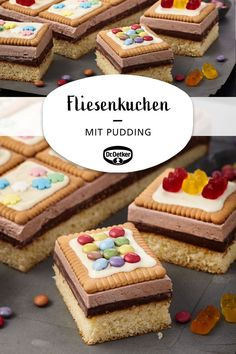 Tile cake - Rezepte: Kuchen & Torten - A great cake with butter cookies and pudding for children birthday cake Sie - Easy Smoothie Recipes, Easy Smoothies, Cake Recipes, Dessert Recipes, Cinnamon Cream Cheese Frosting, Pumpkin Spice Cupcakes, Fall Desserts, Food Cakes, Ice Cream Recipes