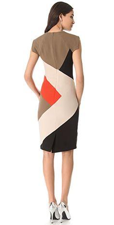 Lela Rose Colorblock V Neck Dress | SHOPBOP