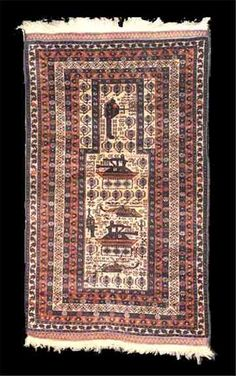 Afghan war rugs were new patterns made during the Russian aggression -- but in the prayer carpet format they are rather rare. This one is clearly Baluch in design. Rugs On Carpet, Carpets, Afghanistan War, Prayer Rug, Oriental Rugs, Kilim Rugs, Pattern Making, Vintage Rugs, Persian