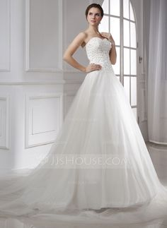 Ball-Gown Sweetheart Chapel Train Satin Tulle Wedding Dress With Lace Beading (002015474)