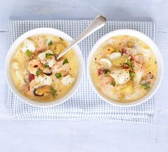 Simple seafood chowder - A chunky, creamy soup with salmon and smoked haddock, mixed shellfish and potatoes - a hearty meal