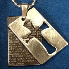 """Cross with Verse Hide-Away Necklace Stainless Steel Titanium Hide-Away Cross & Verse.  Front pendant has a large cutout of a cross in stainless steel silvercolor. Back pendant has verse in gun black color.  Comes on a 24"""" Bead Chain Jewelry Necklaces"""