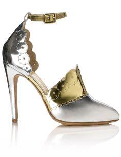 10c00c7c1a2 Metallic Leather Scalloped Heels