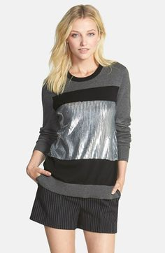 MICHAEL Michael Kors Sequin Panel Colorblock Crewneck Sweater available at #Nordstrom