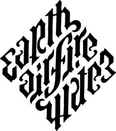 Earth, Air, Fire, Water by John Langdon (Ambigram commissioned for Dan Brown's the New York Times bestseller Angels & Demons used in the book and feature film. Earth Air Fire Water, Earth Wind & Fire, Water 3, Calligraphy Letters, Typography Letters, Ambigramm Tattoo, Fate Tattoo, Illuminati Tattoo, Graffiti Alphabet