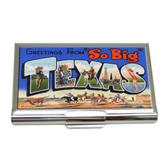 Our business card holder features vintage postcard art of Texas.   This purse mirror features two mirrors and is individually boxed in a small black gift box.   A great gift for Texans! Business Card Holders, Business Cards, Texas Gifts, Marble Coasters, Postcard Art, Wine Bottle Stoppers, Black Gift Boxes, Vintage Travel, Great Gifts