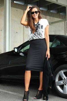 Como usar saia lápis preta - Moda prática