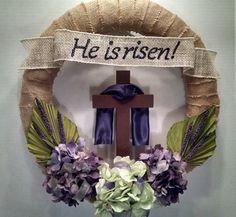 Unique Easter wreath Resurrection wreath burlap purple white brown He is risen banner