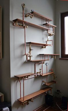 This copper pipe bookshelf. This copper pipe bookshelf.,NiCe iDeaS This copper pipe bookshelf. Casa Steampunk, Steampunk Bedroom, Steampunk Home Decor, Steampunk Furniture, Steampunk Shelves, Steampunk Interior, Gothic Steampunk, Steampunk Drawing, Steampunk Fashion