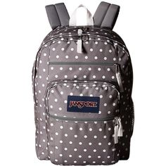 JanSport Big Student (Shady Grey/White Dots) Backpack Bags ($46) ❤ liked on Polyvore featuring bags, backpacks, zipper bag, white rucksack, white bag, shoulder strap bags and shoulder strap backpack