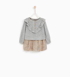 ZARA - KIDS - CONTRAST FRILLED DRESS