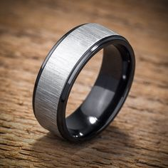 Mens Wedding Band Comfort Fit Interior Black Zirconium by spexton | Pro Chic Events by Jessica