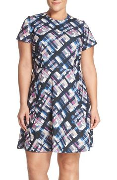 Eliza J Plaid Ponte Fit & Flare Dress (Plus Size) available at #Nordstrom