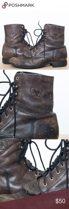 Ariat Ankle Paddock Boots - Distressed & Vintage Ariat Ankle Paddock Boots - Distressed Vintage Ariat leather lace up western roper boot. Soft thick leather. All hardware is brass color.  Naturally distressed ankle lace up boots from Ariat!! High quality and made for work and comfort.  Ariat work/walking boots with cushions and stabilizes the foot for all day comfort. Distressed grey-ish brown. A couple of minor scratches around toe. Ariat Shoes Ankle Boots & Booties
