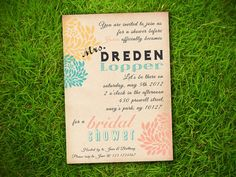 Vintage Flowers Coral Yellow Turquoise Customizable Classic Bridal Shower Invitation Card - DIY Printable. $10.00, via Etsy.
