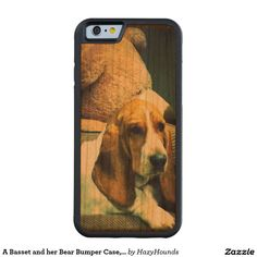 A Basset and her Bear Bumper Case, Cherry Wood Carved® Cherry iPhone 6 Bumper  http://www.zazzle.com/a_basset_and_her_bear_bumper_case_cherry_wood_carved_cherry_iphone_6_bumper-256472055862601178?rf=238588924226571373