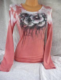 Dámské triko s malbou květin