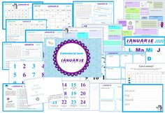 January Calendar 2020 in Romanian, Activities for Morning Meeting January Calendar, Kids Calendar, Calendar 2020, Happy Planner, Worksheets, 3 D, Printables, Education, Learning