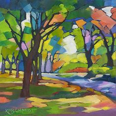 KMSchmidt ORIGINAL Oil Painting 6x6 abstract fauve landscape TREES shady PATH
