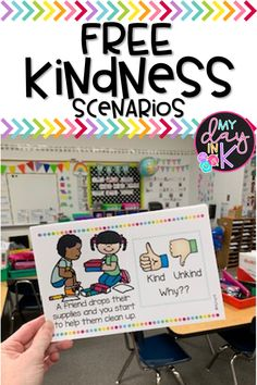 Kindness Scenarios FREEBIE Kindness Scenarios are a great way to model and discuss different acts of kindness and what to do when someone is unkind and how to turn it around. Perfect FREEBIE to use to talk about what is kind during class meetings at the b Kindergarten Behavior, Classroom Behavior, Kindergarten Classroom, Future Classroom, Classroom Management, Behavior Management, Morning Meeting Kindergarten, Elementary Teacher, Kindness Activities