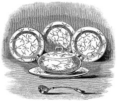 Soup Tureen, Ladle and Plates ~ Free Vintage Clip Art (black and white version)
