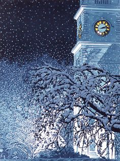 "Seven-color linocut print of Centre Congregational Church in Brattleboro, Vermont at night in the snow, entitled ""Illumination"""