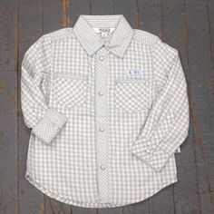 Kanz Newborn Boys Play Together Style Long Sleeve Button Up Collared Grey Plaid Shirt
